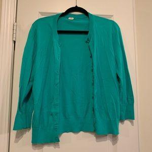 J Crew Turquoise Cardigan Size Large